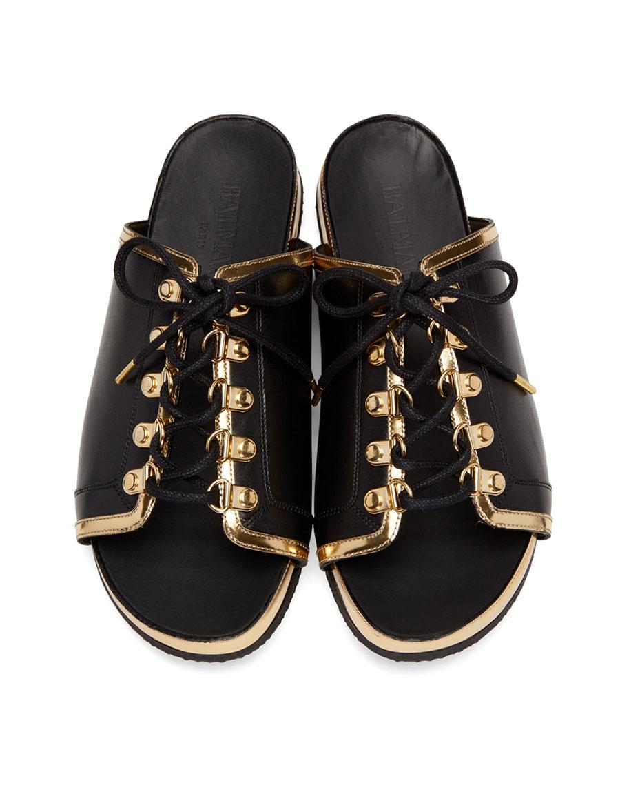BALMAIN Black & Gold Lace Up Sandals