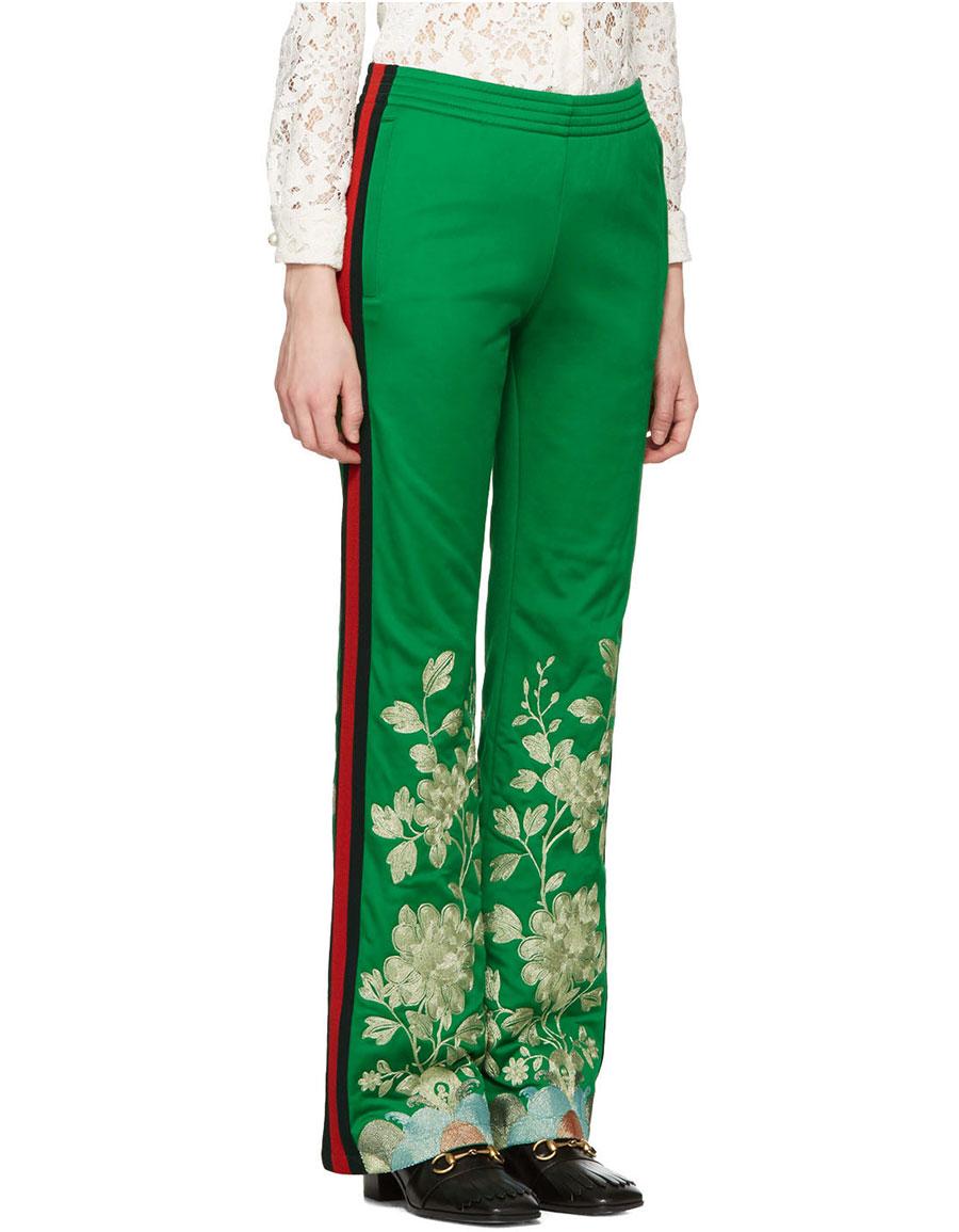 da163b61 GUCCI Green Embroidered Track Pants · VERGLE