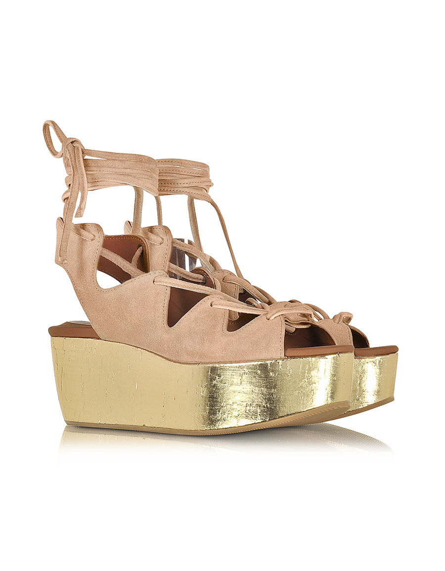 CHLOÉ Liana Powder Pink Suede Lace up Wedge Sandal