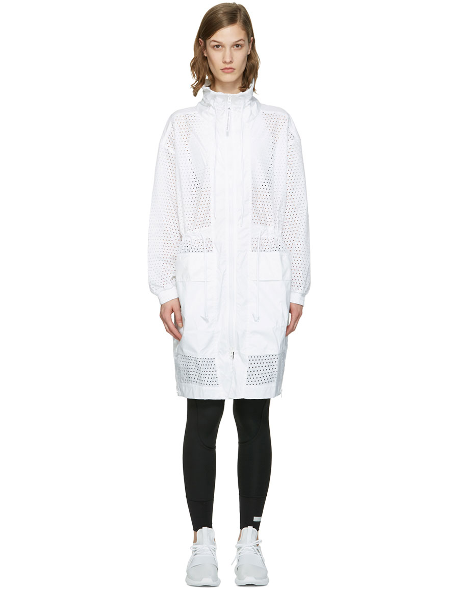 ADIDAS BY STELLA MCCARTNEY White Perforated Train Parka