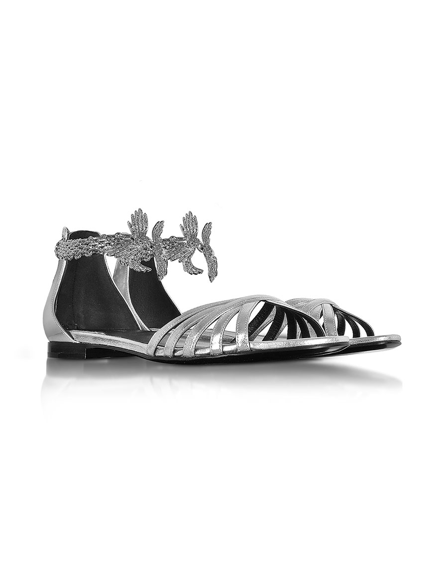 ROBERTO CAVALLI Laminated Silver Leather Flat Sandals