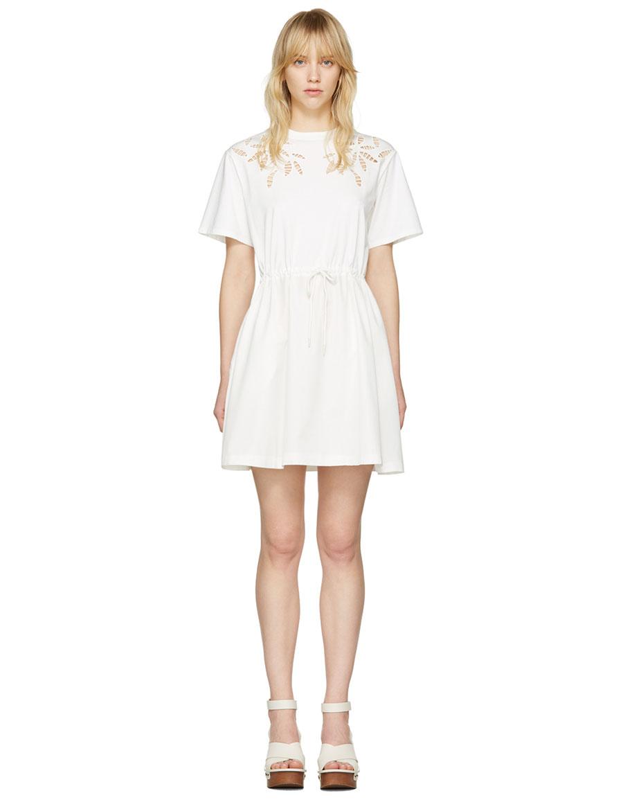 CHLOÉ Off White Drawstring T Shirt Dress