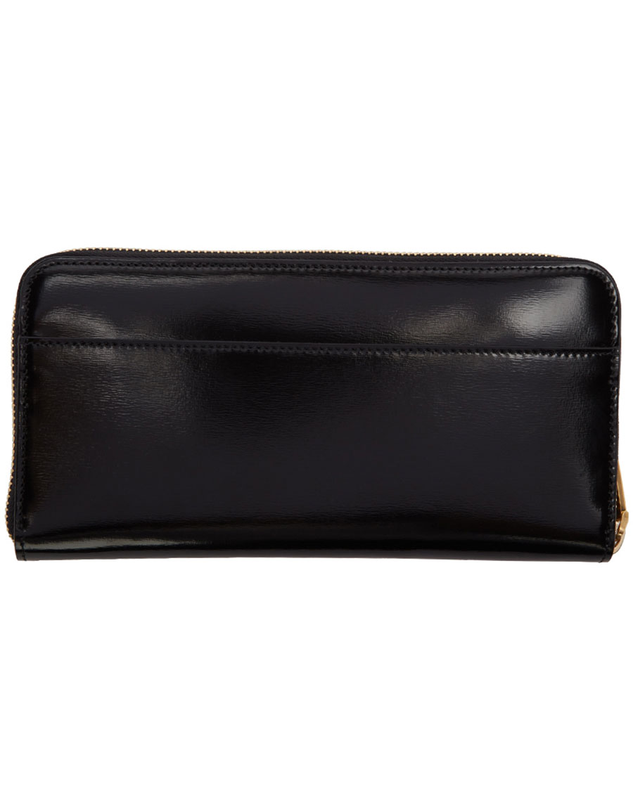 THOM BROWNE Black Long Zip Around Wallet