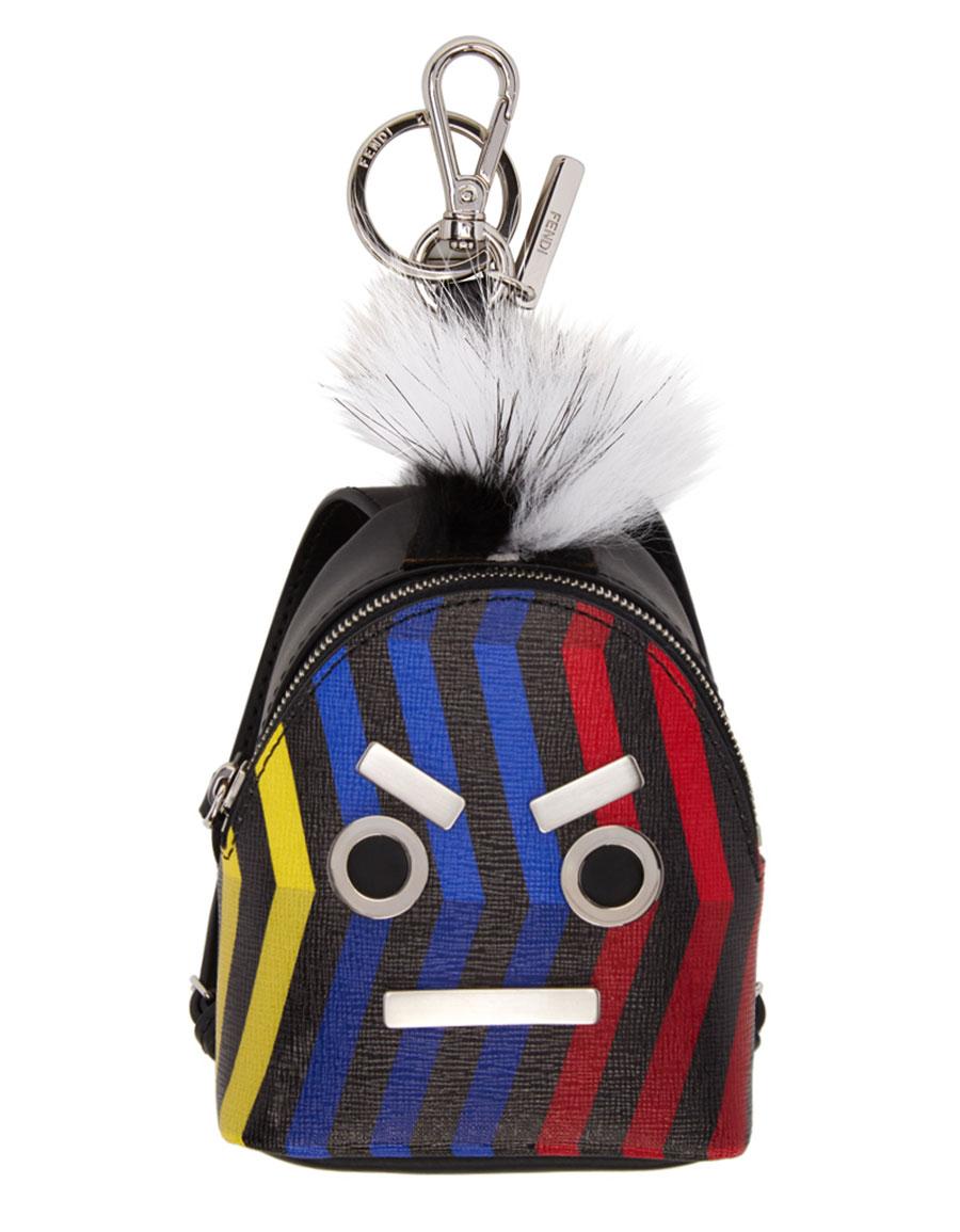 FENDI Black 'Fendi Faces' Backpack Keychain