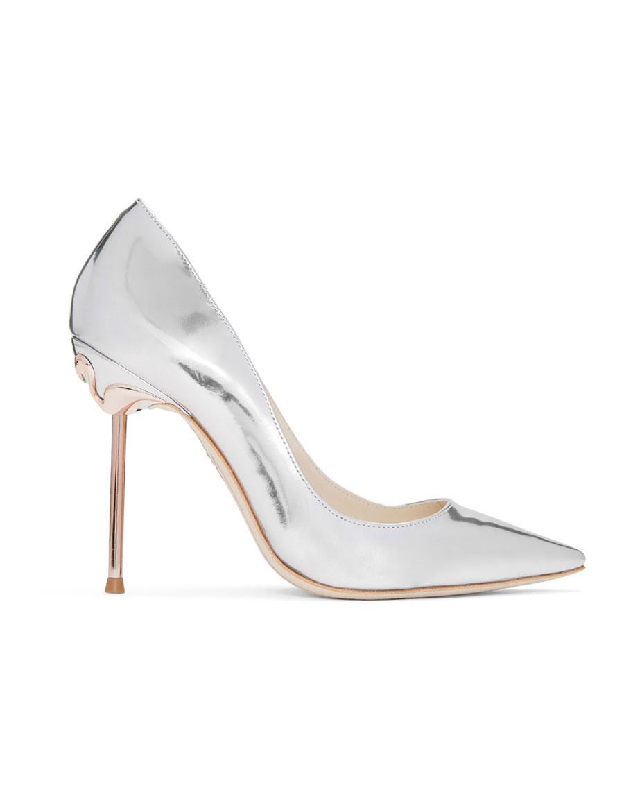 SOPHIA WEBSTER Silver Coco Flamingo Heels