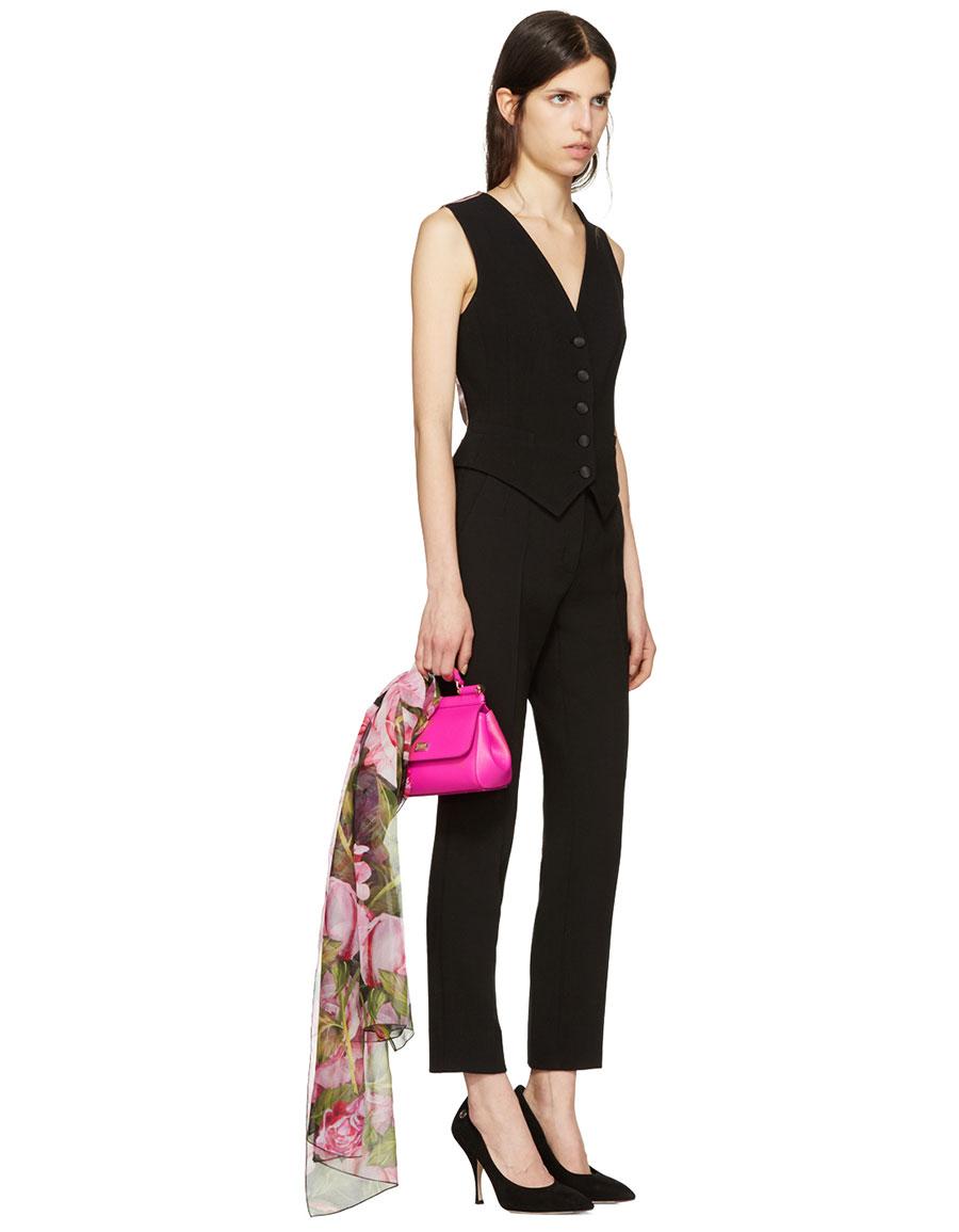 DOLCE & GABBANA Pink Floral Silk Scarf