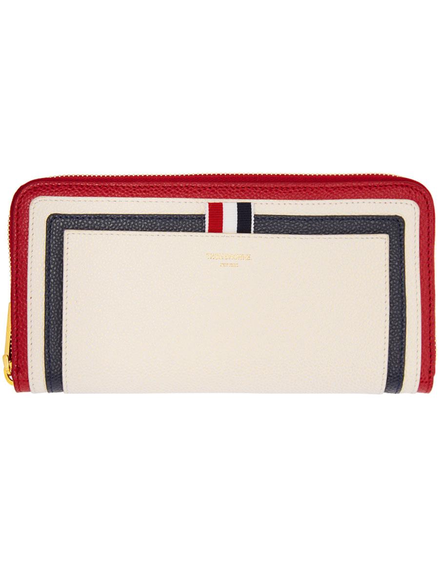 THOM BROWNE Tricolor Long Zip Around Wallet