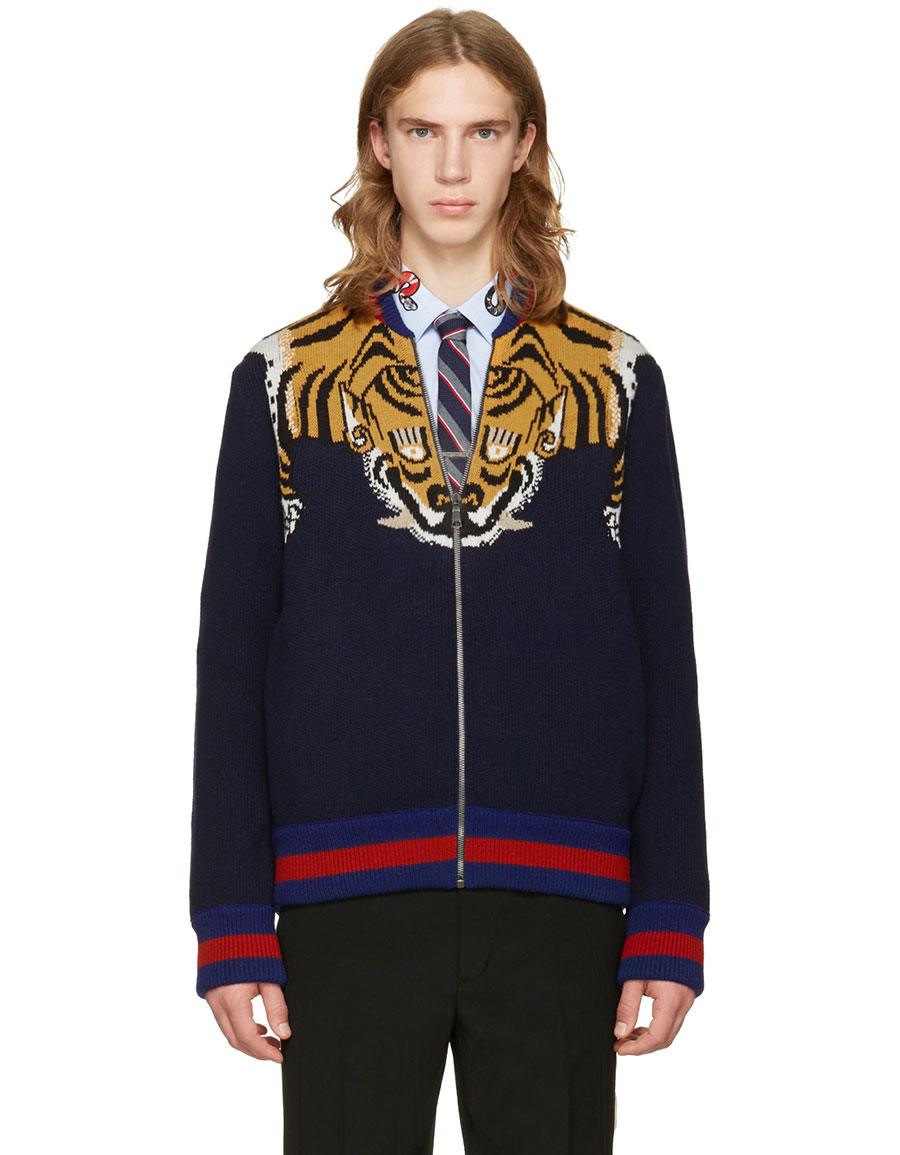 gucci zip up sweater. gucci navy tiger zip up sweater gucci u