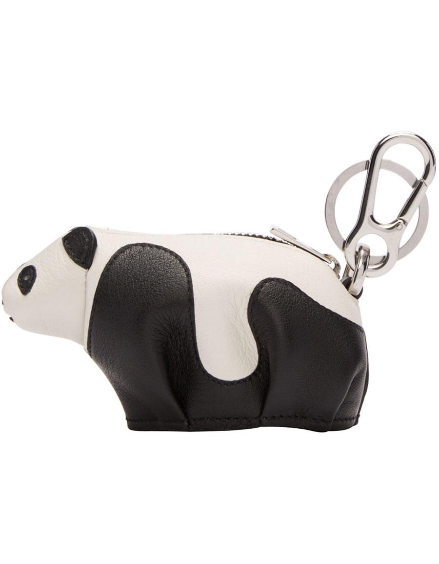 LOEWE Black & White Panda Keychain