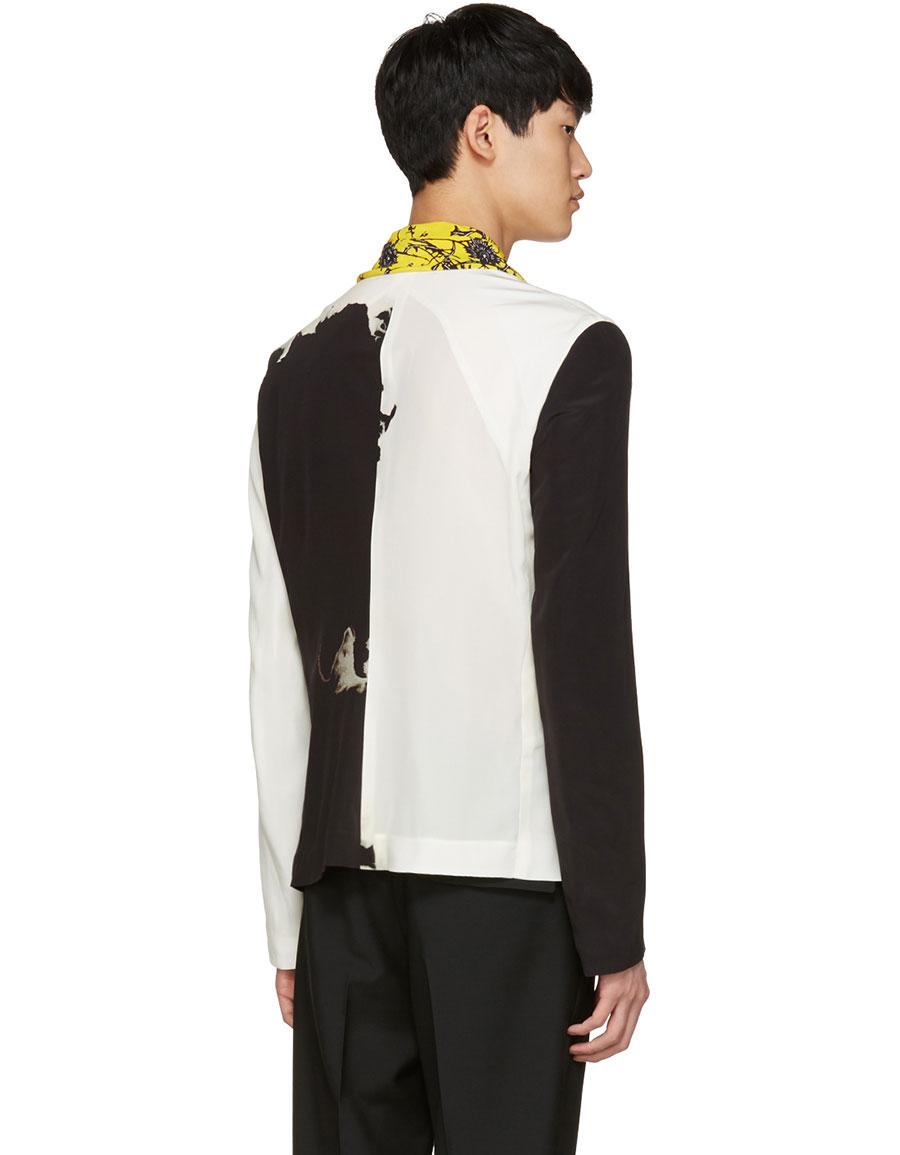 HAIDER ACKERMANN Black & White Silk Blazer