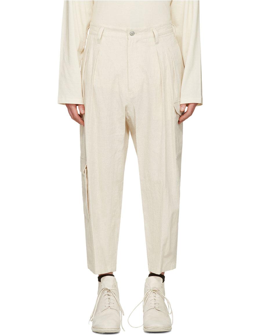 YOHJI YAMAMOTO Ivory Linen Cargo Pants
