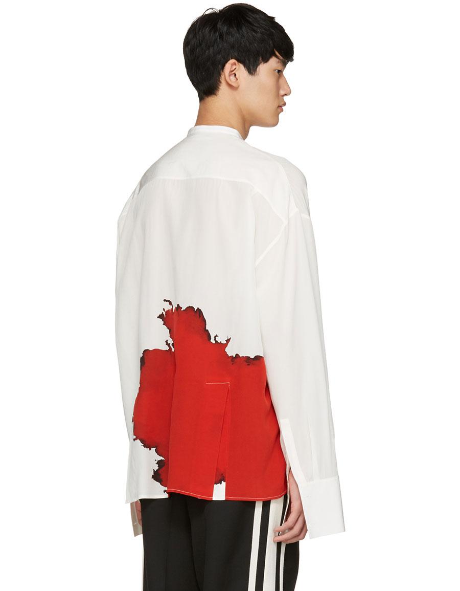 HAIDER ACKERMANN Ivory Collarless Graphic Shirt