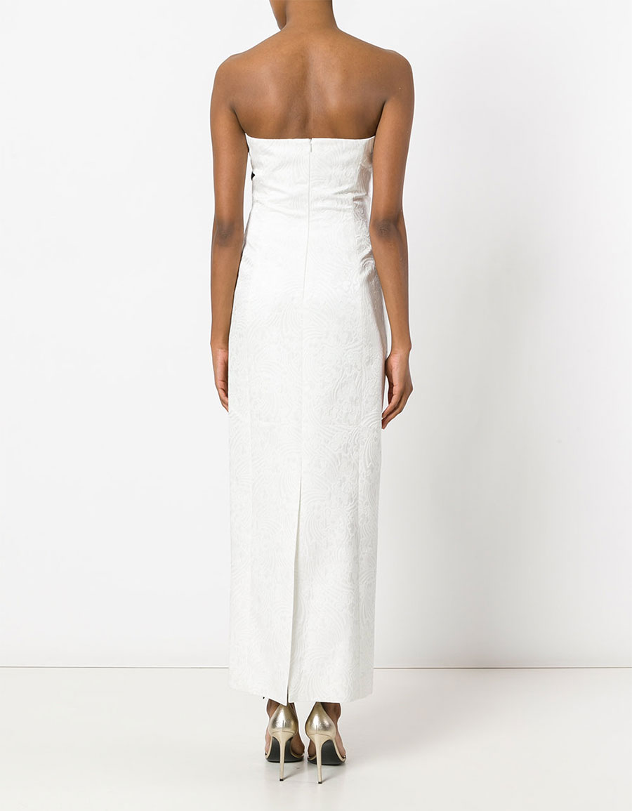 CAPUCCI Pleated embellishment strapless gown