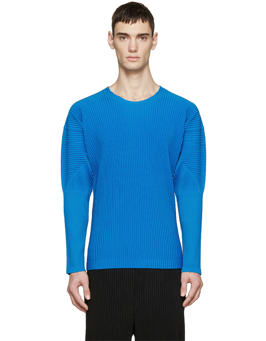 ISSEY MIYAKE Blue Pleated Pullover