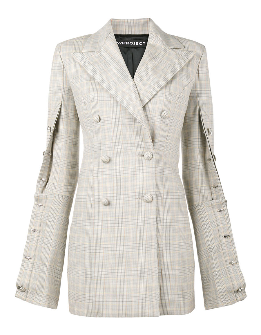 Y / PROJECT Oversized check buttoned blazer
