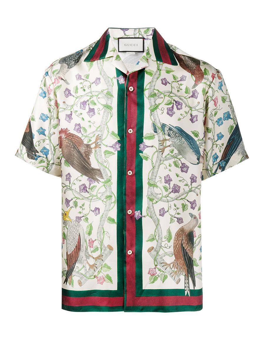 GUCCI Birds of Prey print bowling shirt