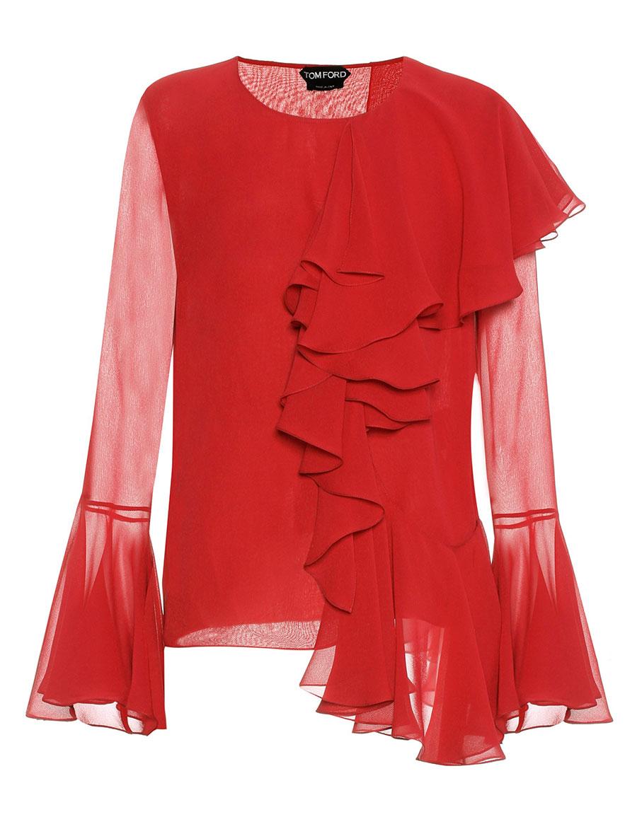 TOM FORD Ruffled silk blouse