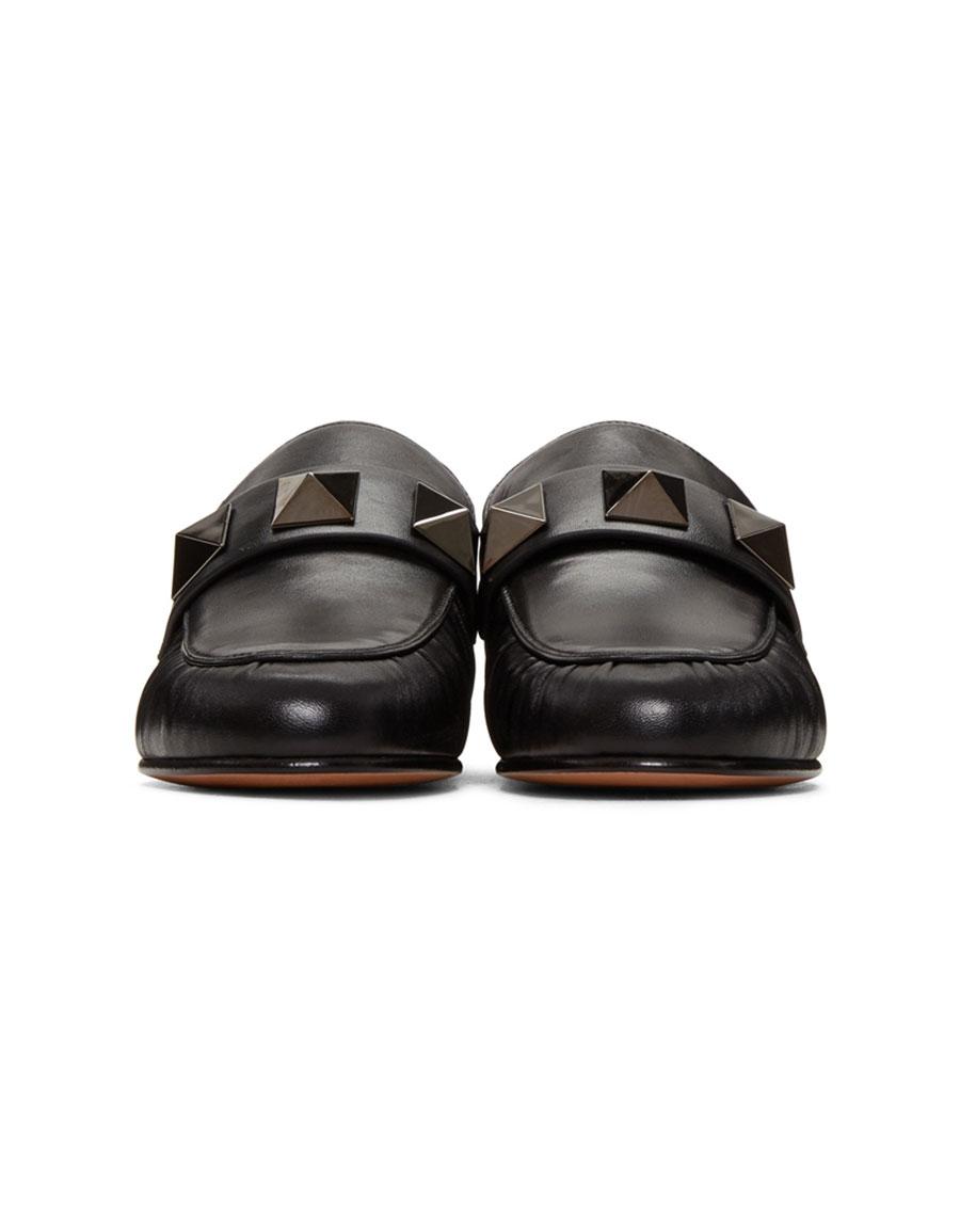 VALENTINO Black Macro Rockstud Loafers