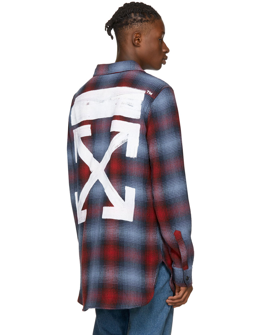 Image result for Red & Blue Check Shirt Off-white