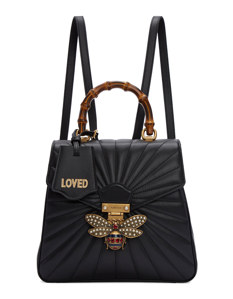 bbe028b1bf9 GUCCI Black Queen Margaret Quilted Backpack · VERGLE