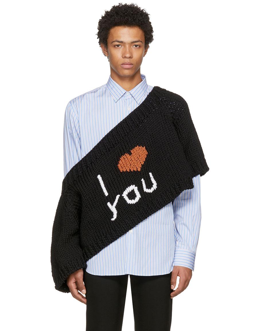 effe9e65f7ca2 RAF SIMONS Black 'I Love You' Blow Up Raglan Sweater · VERGLE