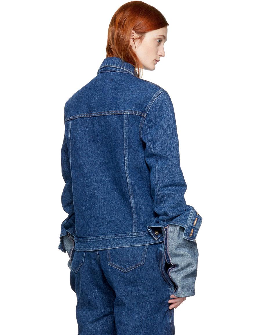 Y/PROJECT Navy Denim Extra Long Sleeve Jacket