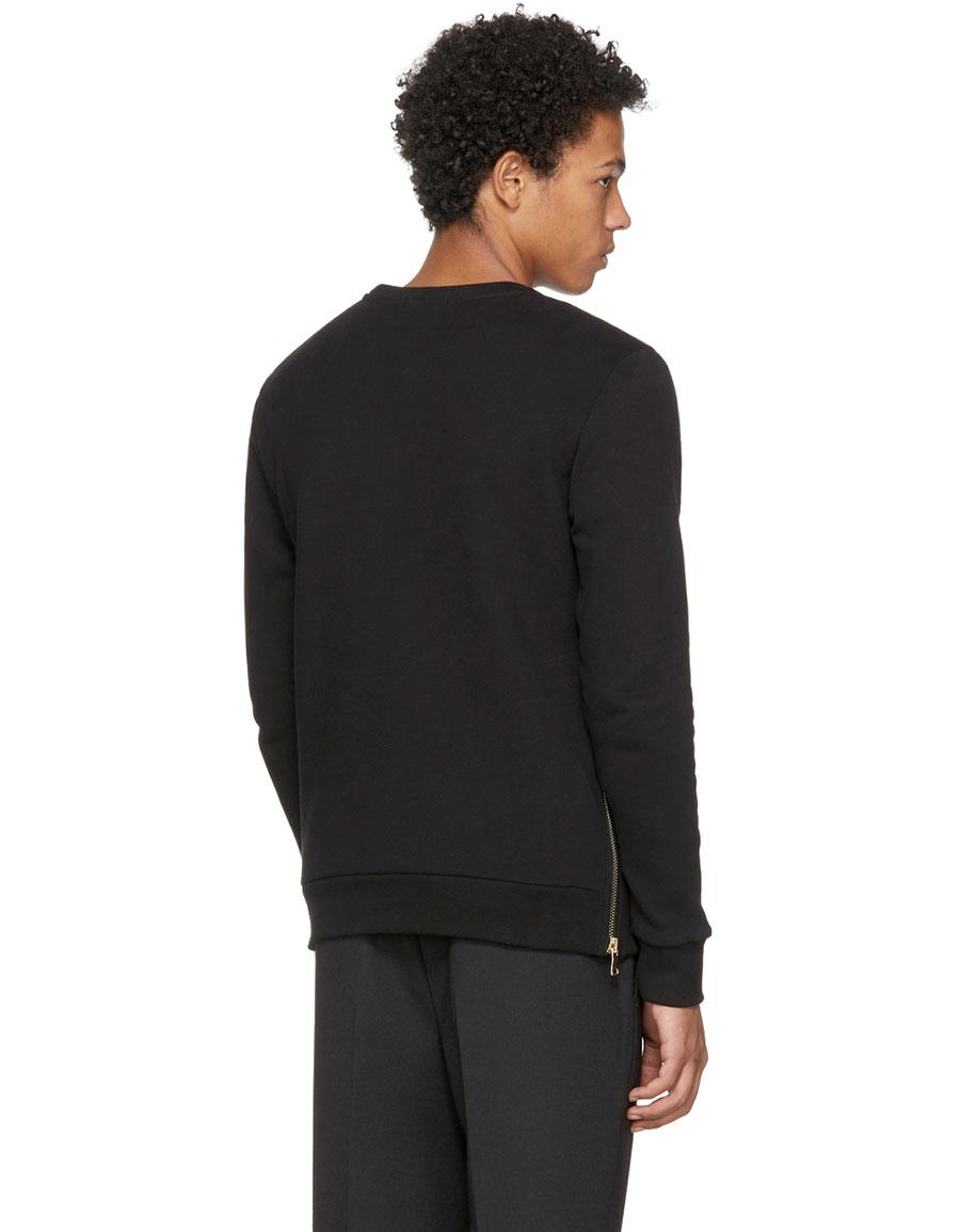 BALMAIN Black Sweat Zips Printed Hoodie