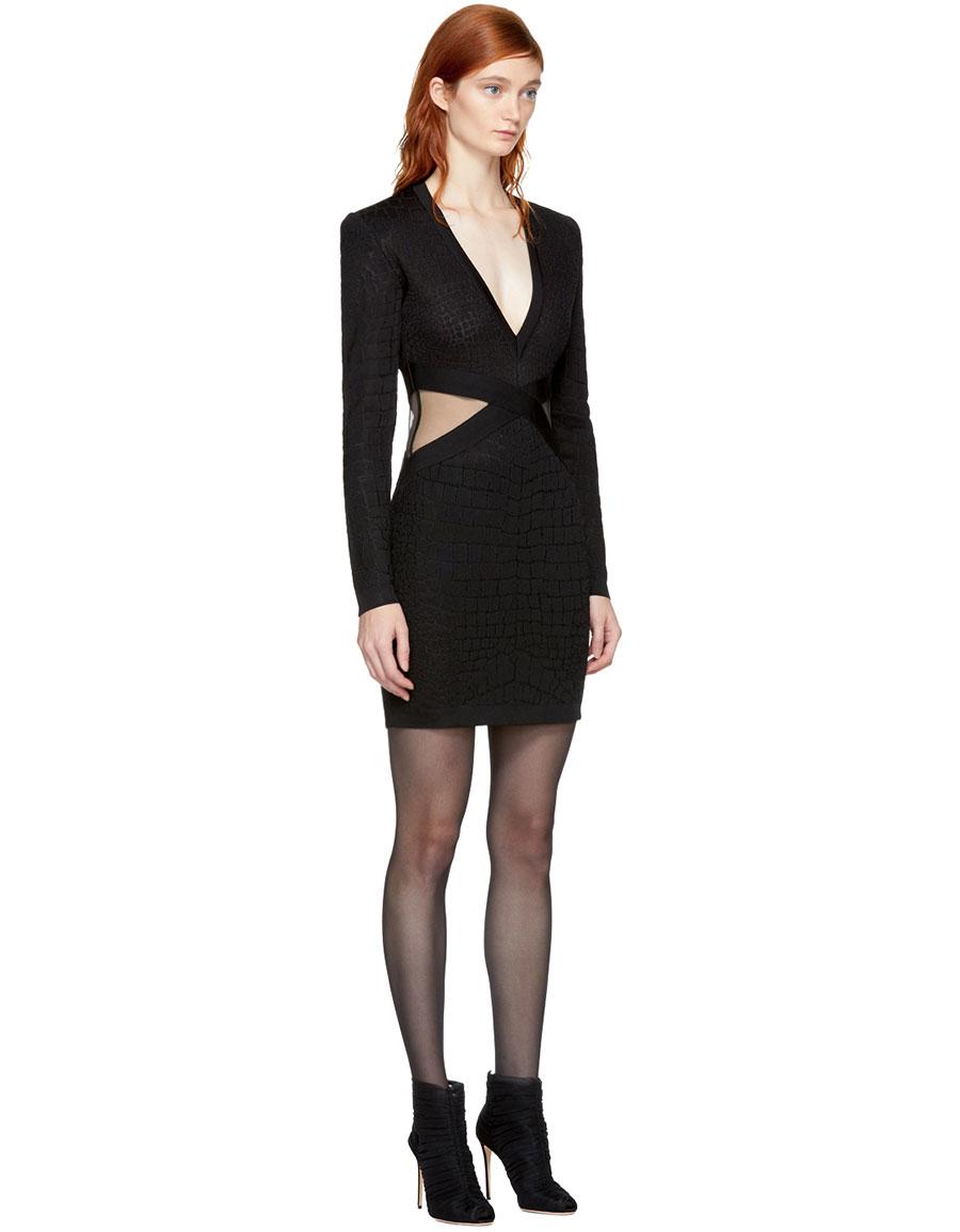 BALMAIN Black Knit Crocodile Dress