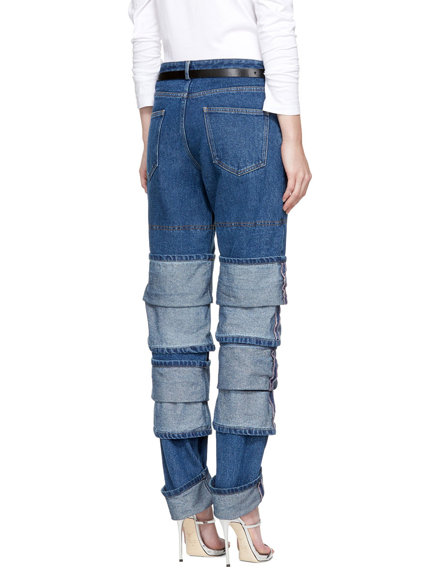 Y/PROJECT Navy Layered Jeans