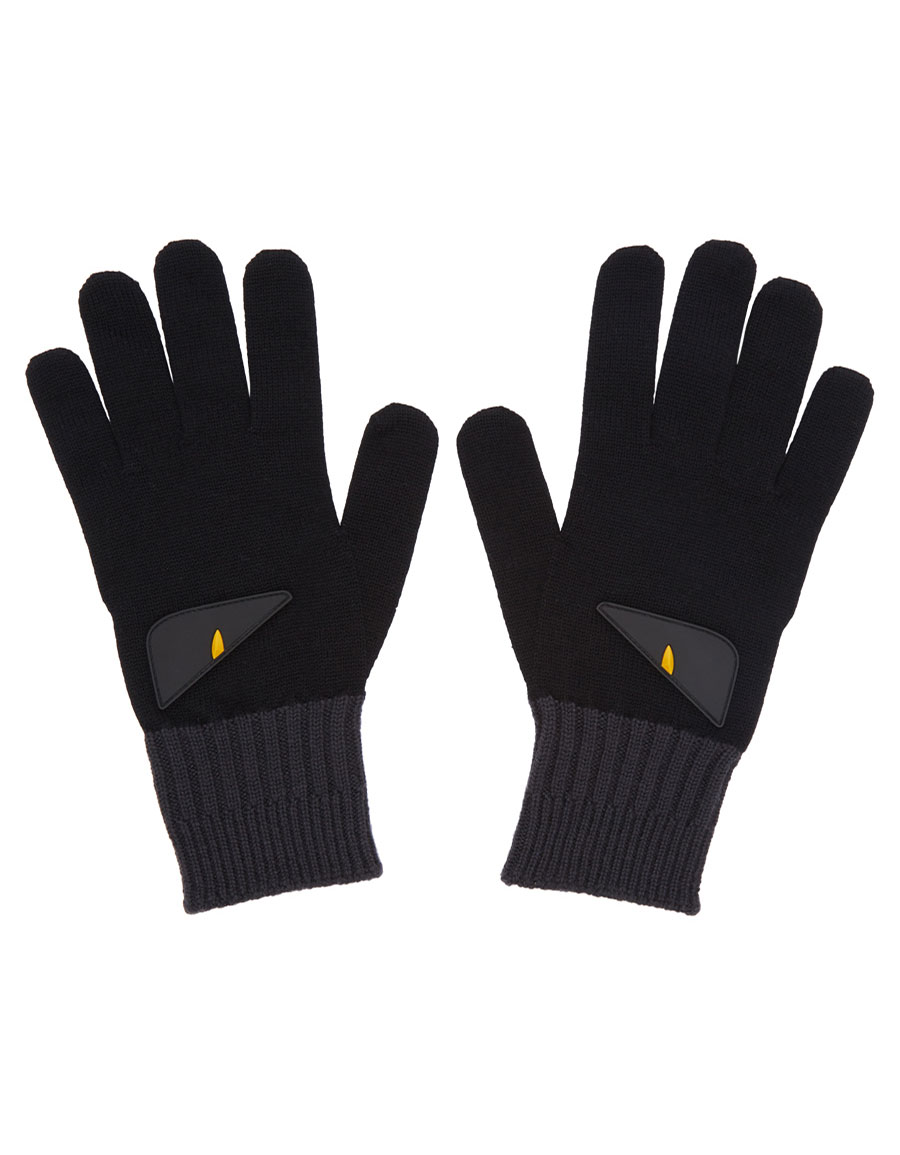 FENDI Black & Grey 'Bag Bugs' Gloves