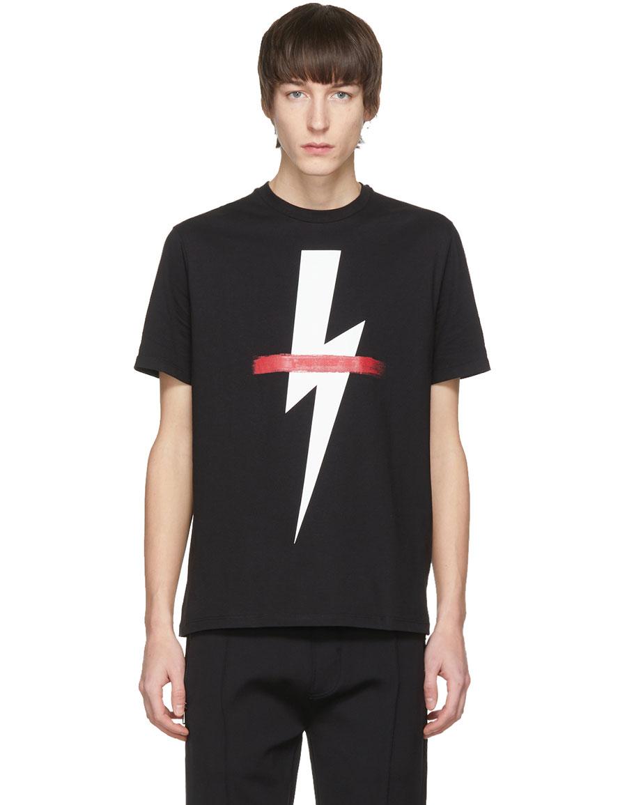 NEIL BARRETT Black Crossed Out Thunderbolt T Shirt