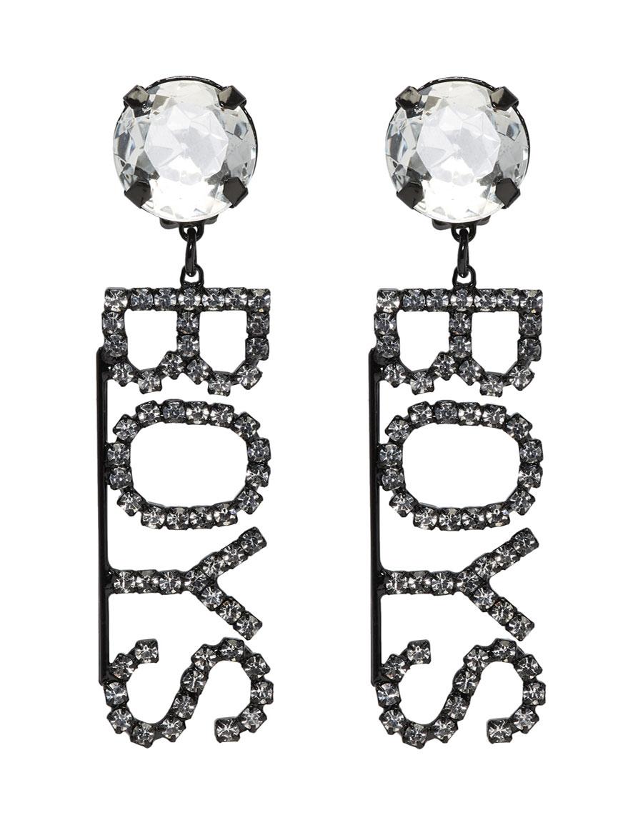 ASHLEY WILLIAMS Black Crystal 'Boys' Clip On Earrings