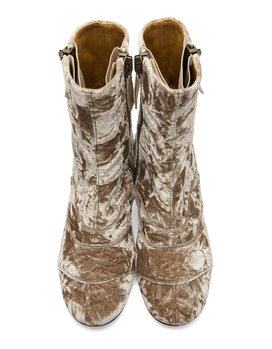 CHLOÉ Pink Velvet Lexie Boots
