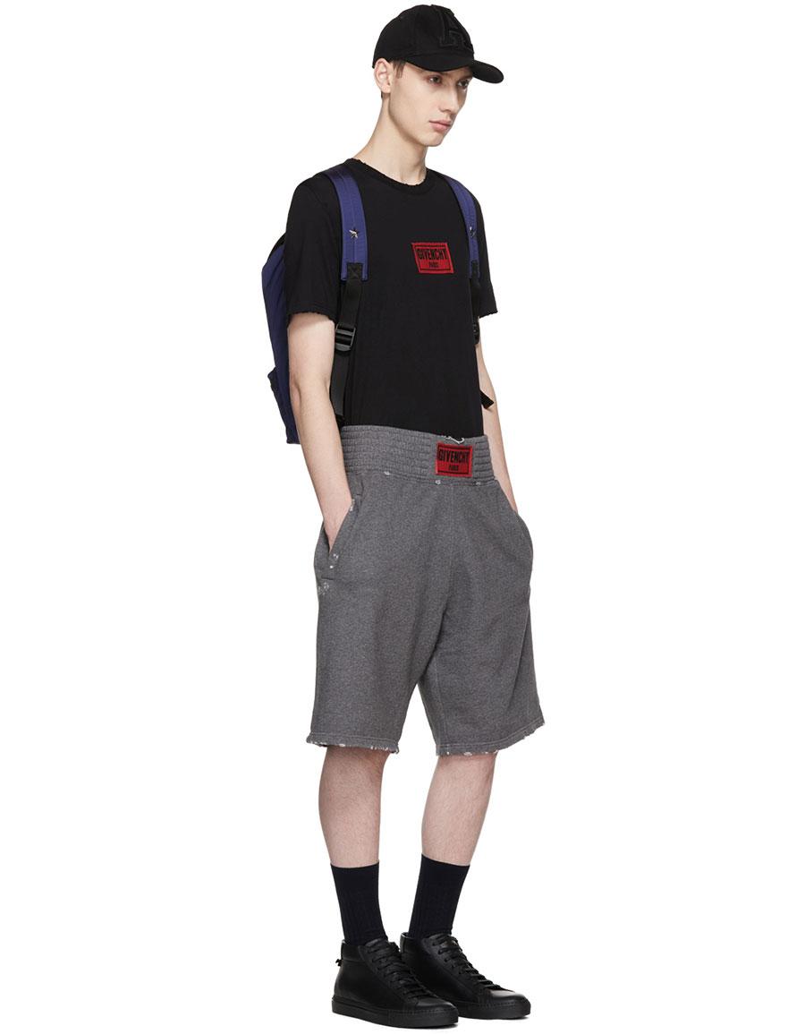 GIVENCHY Grey Distressed Logo Boxing Shorts