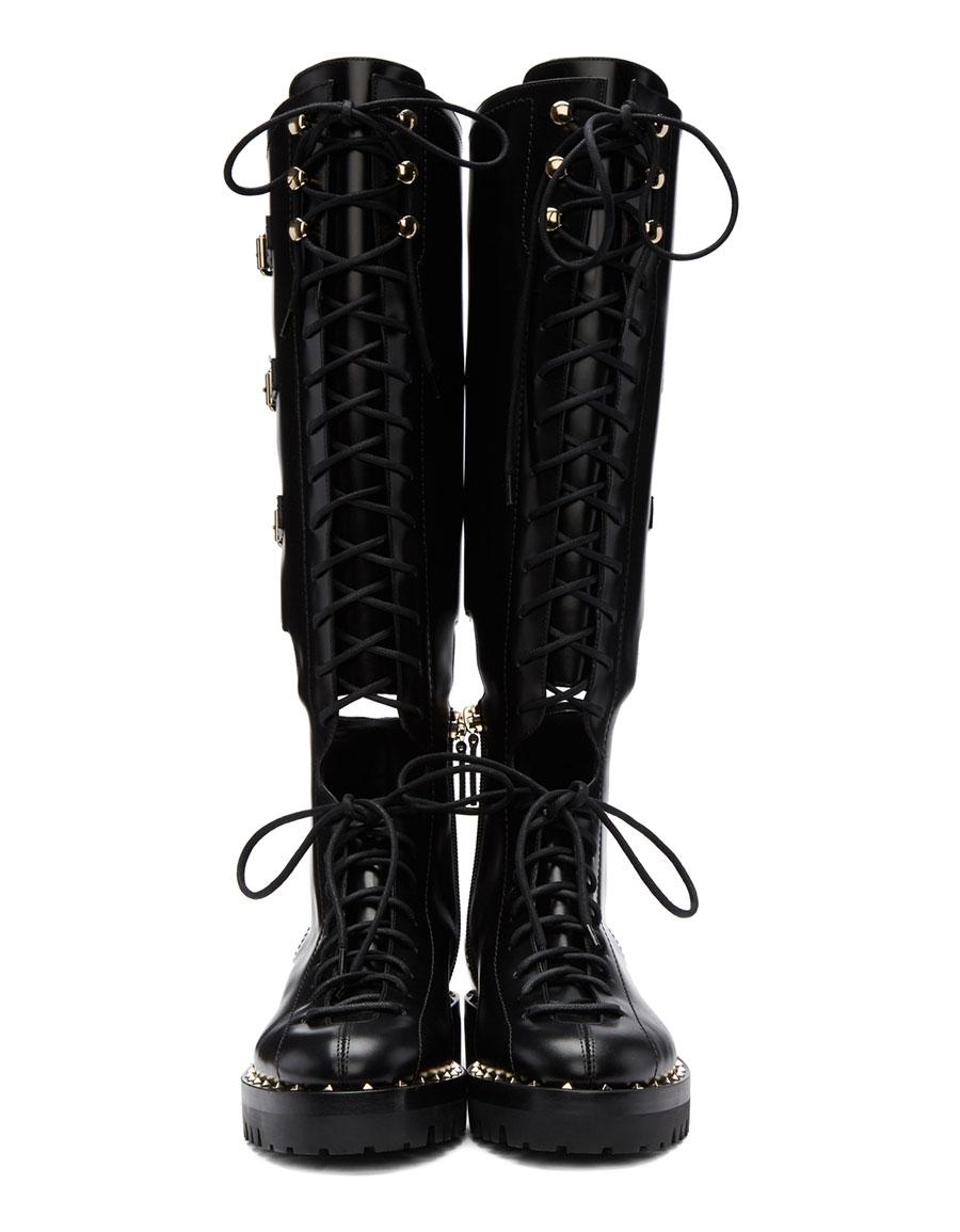 VALENTINO Black Valentino Garavani Soul Rockstud Knee High Military Boots