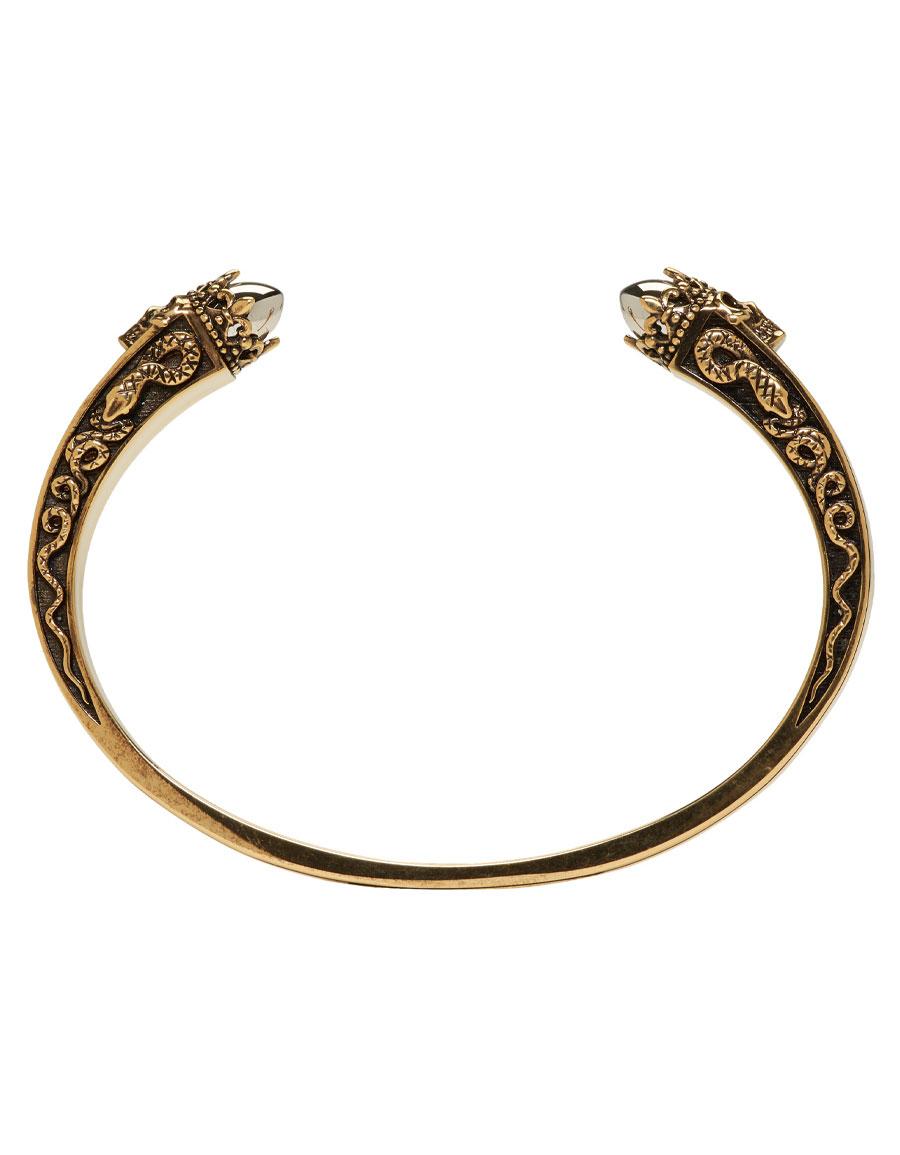 ALEXANDER MCQUEEN Gold & Silver Engraved Twin Skull Bracelet