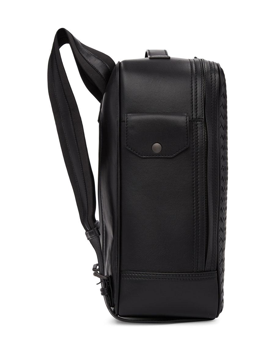 BOTTEGA VENETA Black Intrecciato Galaxy Backpack