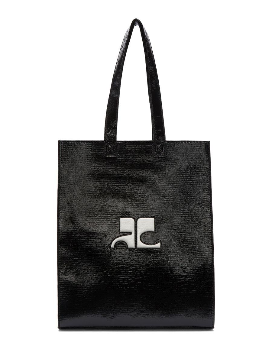 COURRÈGES Black Medium Vinyl Logo Tote