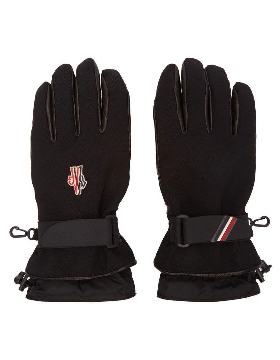 MONCLER Black Canvas & Lambskin Gloves