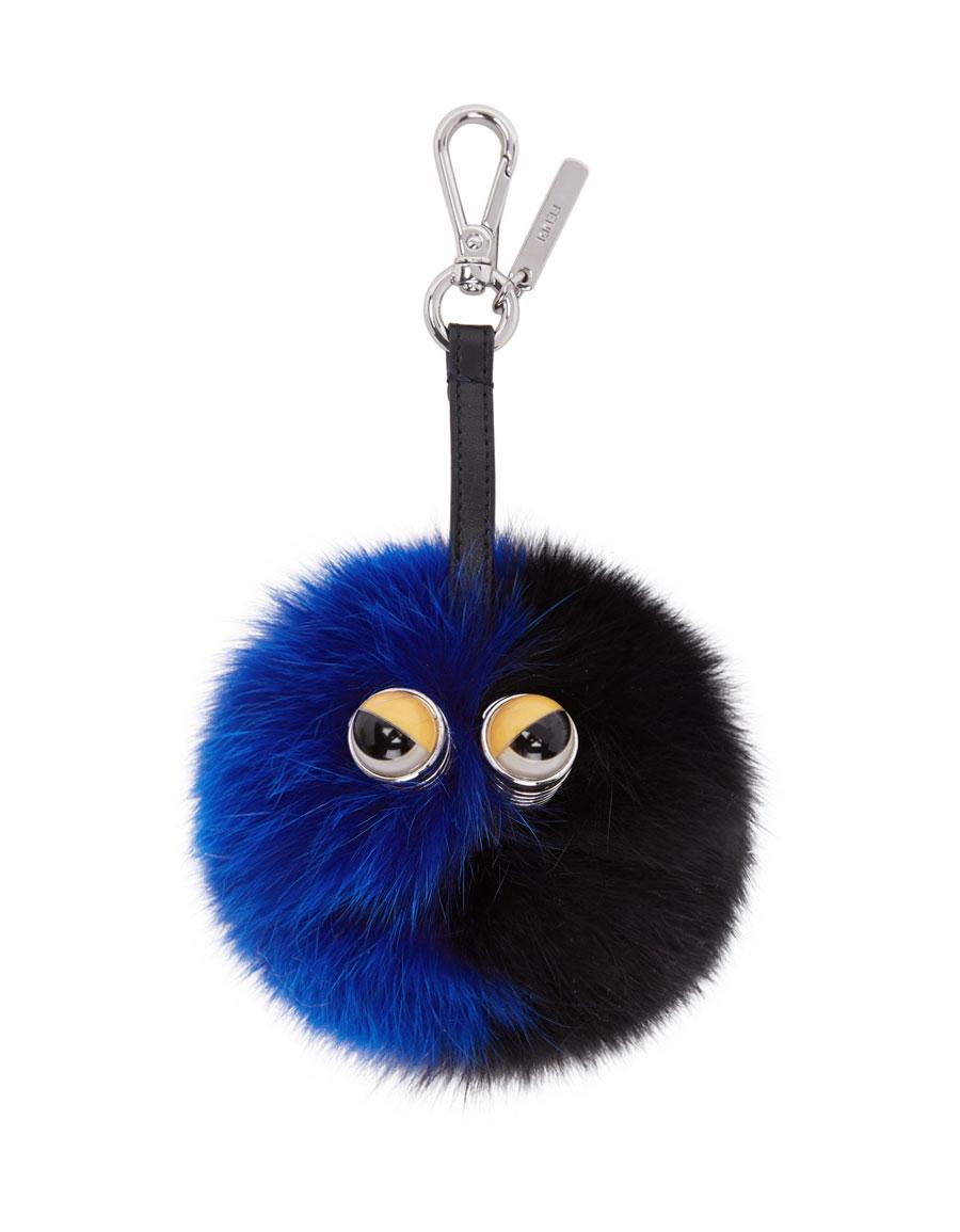 FENDI Black & Blue Fur Pom Pom Keychain