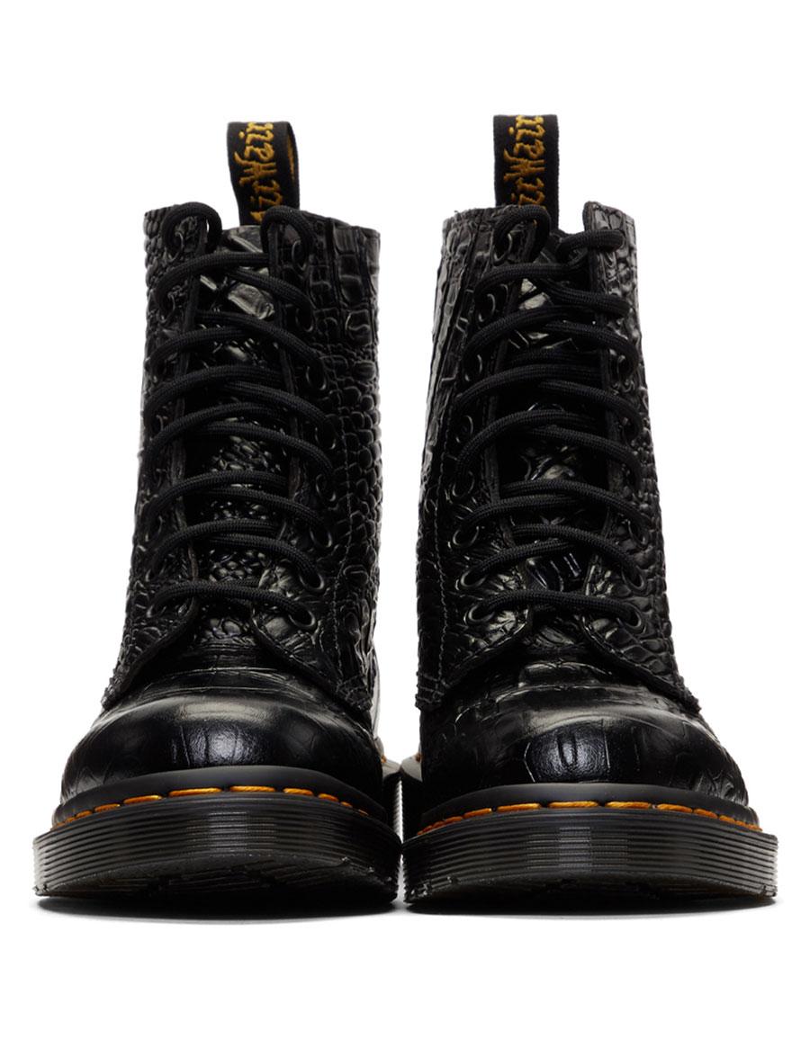 DR. MARTENS Black Croc Pascal Boots