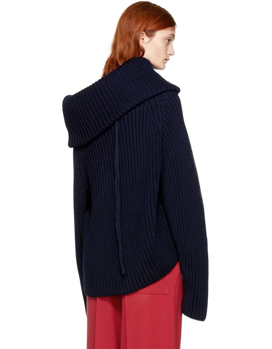 JOSEPH Navy Wool Off the Shoulder Sweater