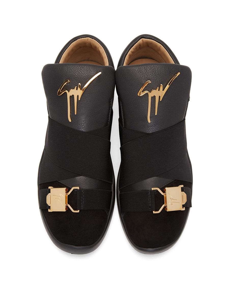 GIUSEPPE ZANOTTI Black Crossover Strap Singles Slip On Sneakers