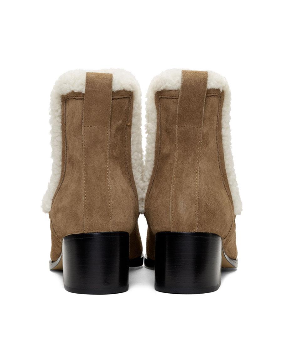 RAG & BONE Tan Suede & Shearling Walker Boots