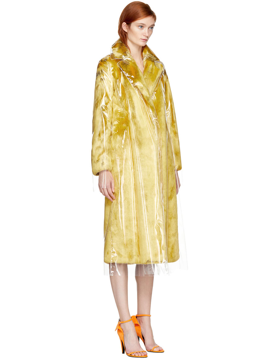 CALVIN KLEIN Yellow Plastic Faux Fur Coat