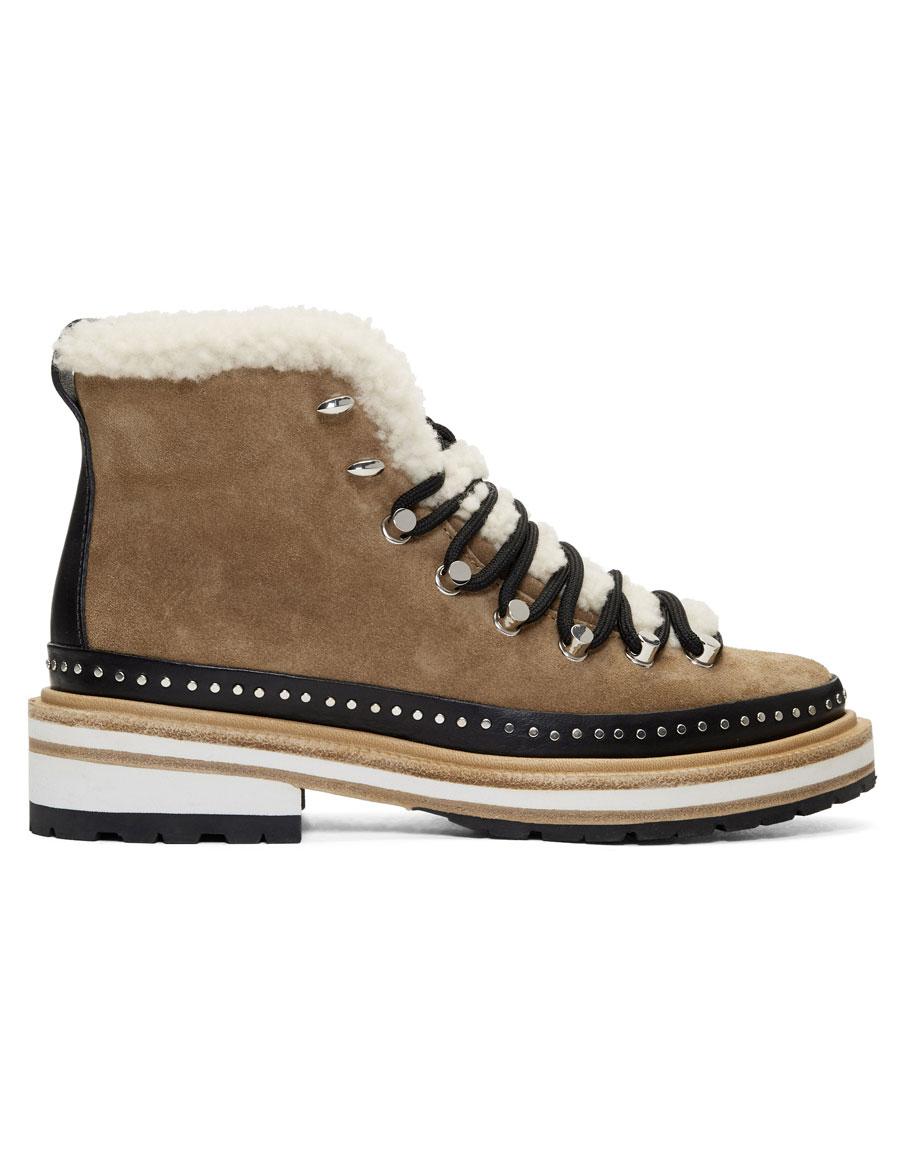 RAG & BONE Tan Suede & Shearling Compass Boots