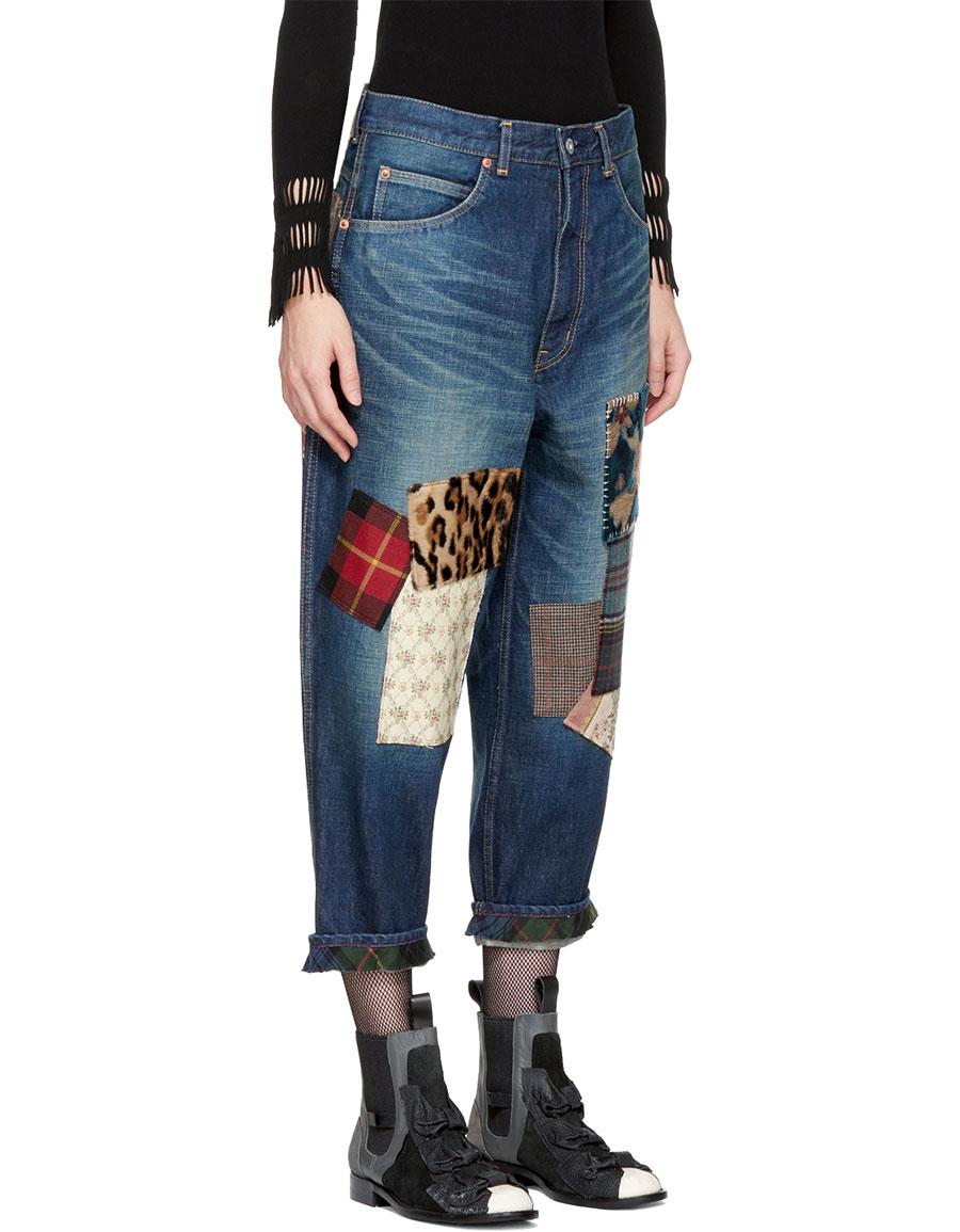 JUNYA WATANABE Indigo Patchwork Jeans