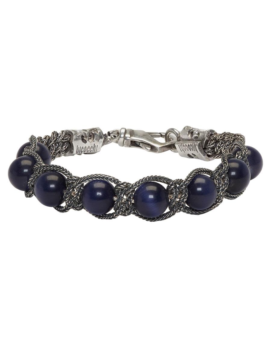 EMANUELE BICOCCHI Silver & Blue Beaded Bracelet