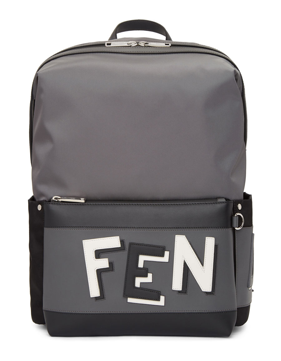 9d9faa26a95a FENDI Grey   Black Nylon Backpack · VERGLE