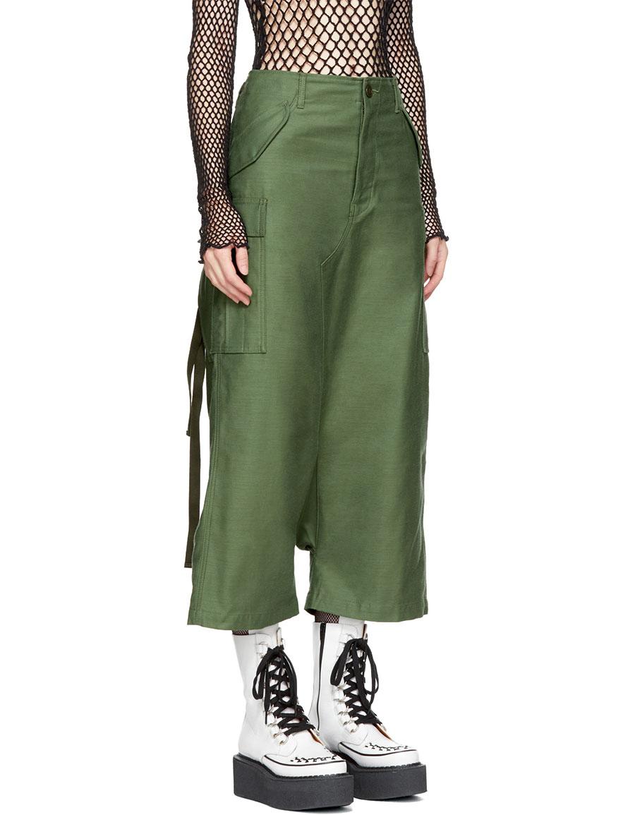 JUNYA WATANABE Green Cotton Cargo Trousers